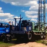 Blue well drilling rig